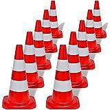 vidaXL Conos de tráfico modelo reflectantes colores rojos y blancos 50cm 10 unidades