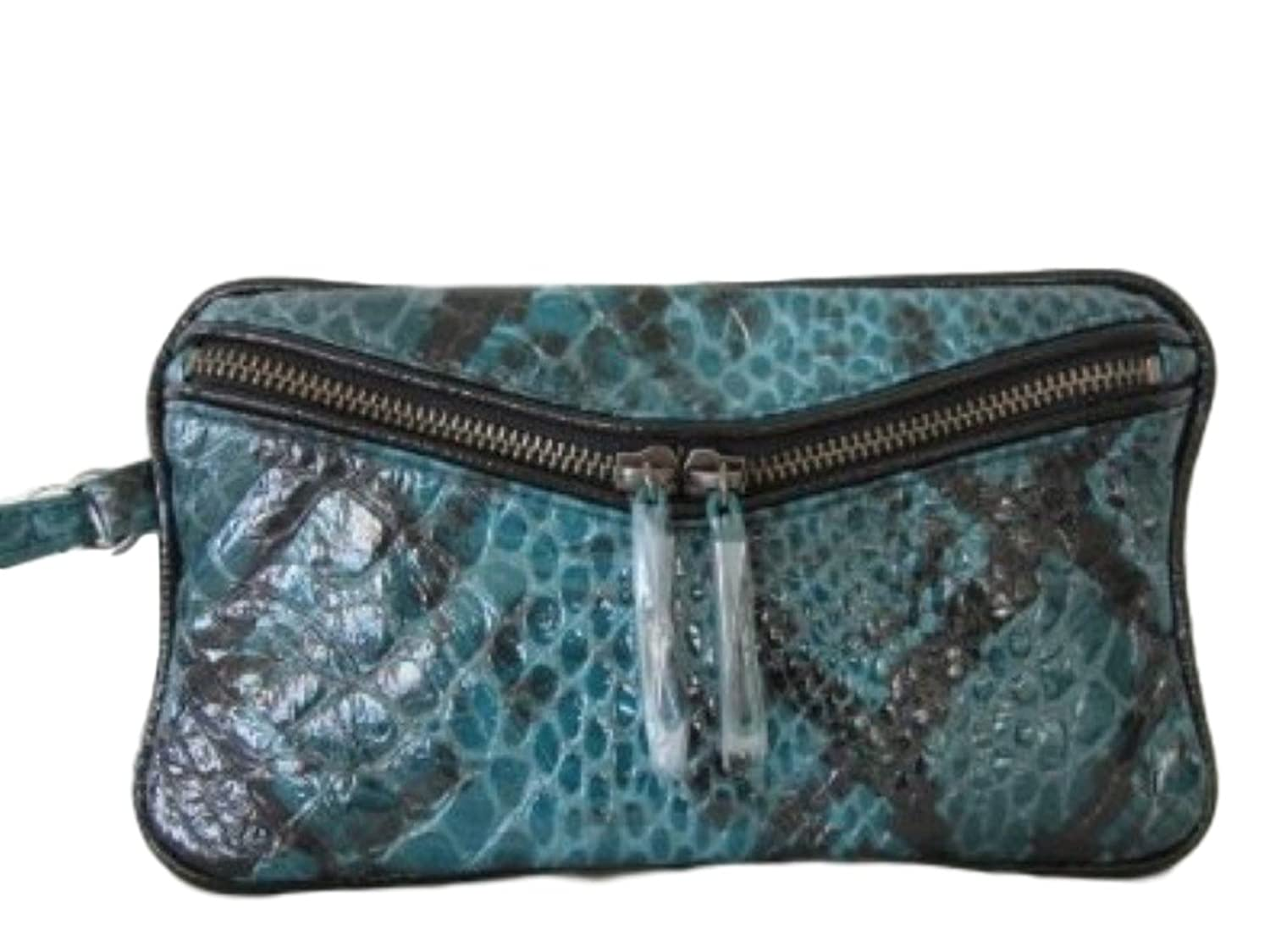 Steve Madden So130930 Turquoise Reptile Faux Leather Wristlet Clutch