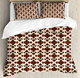 Burgundy Queen Size Duvet Cover Set by Lunarable, Abstract Floral Ornament with Rich Damask Details Medieval Arabian, Decorative 3 Piece Bedding Set with 2 Pillow Shams, Burgundy Navy Blue Cream