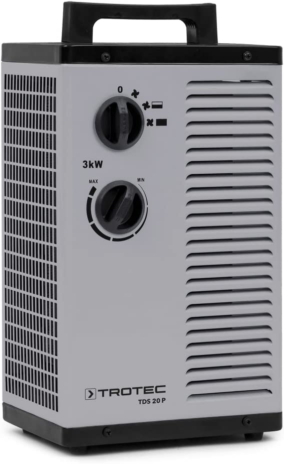 TROTEC Calefactor eléctrico Cerámico TDS 20 P, 3.000 W, Termostato, Calefacción PTC de Cerámica, Función Ventilador, Anti-Vuelco, Anti Sobrecalentamiento, Portátil, Oficina, Hogar