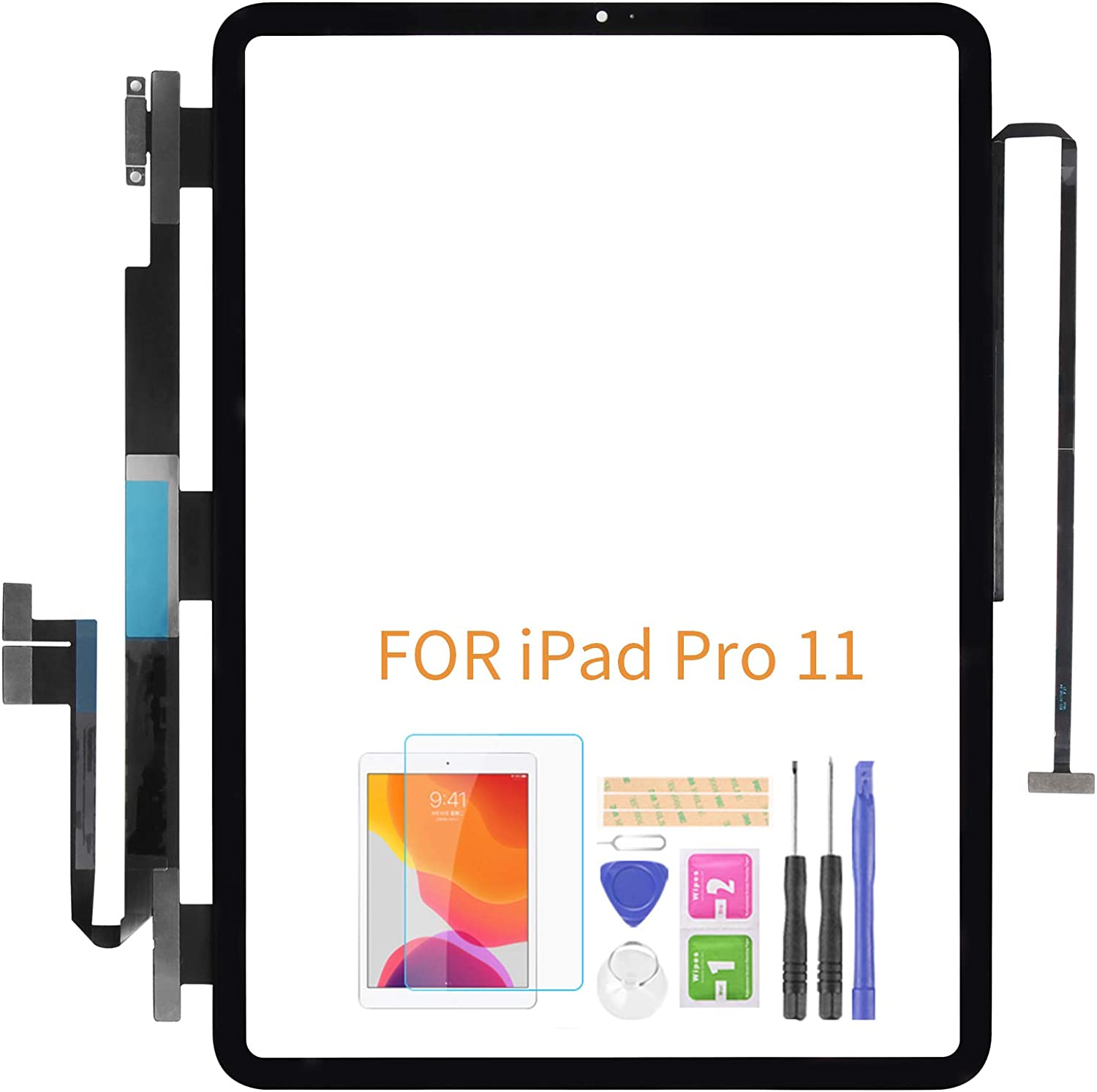 Screen Replacement for iPad Pro 11 inch 2018 A1980 A2013 A1934 A1979 Touch Sensor Glass Panel Lens Digitizer Repair Parts with Tempered Glass +Free Tools(No LCD)