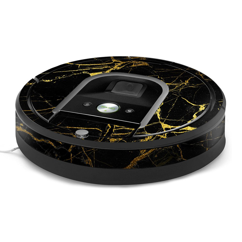 MightySkins Skin for iRobot Roomba 960 Robot Vacuum - Black Gold Marble | Protective, Durable, and Unique Vinyl Decal wrap Cover | Easy to Apply, Remove, and Change Styles | Made in The USA