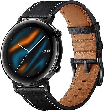 Imagen deSPGUARD Pulsera Compatible con Correa Huawei Watch GT 2 42mm,Pulsera de Repuesto de Cuero de 20mm con Liberación Rápida para Huawei Watch GT 2 42mm-Negro