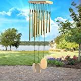 FGN Wind Chimes 22-Inch Musical Wooden Wind Bell, Golden