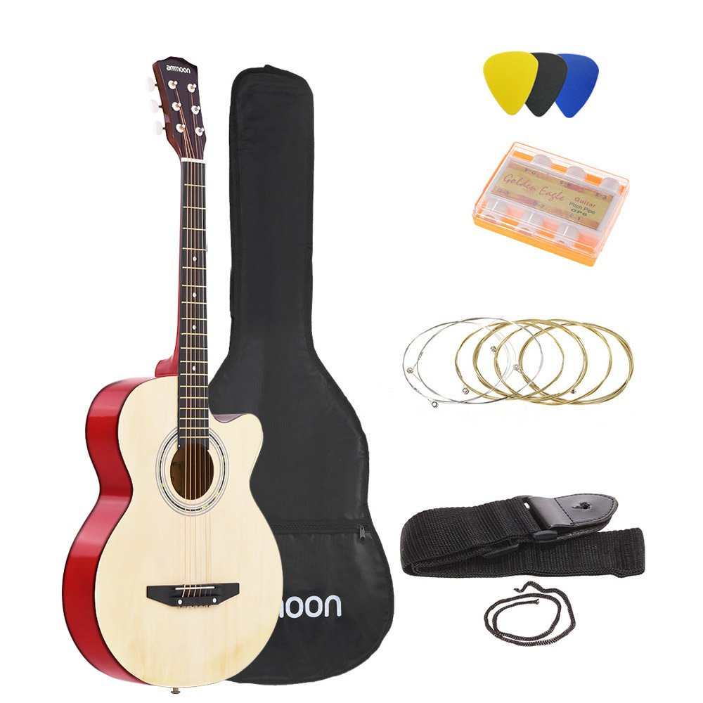 ammoon 38 6-String Cutaway Folk Acoustic Guitar with Bag Strap String Tuner Pick for Beginners Music Lovers Students 1