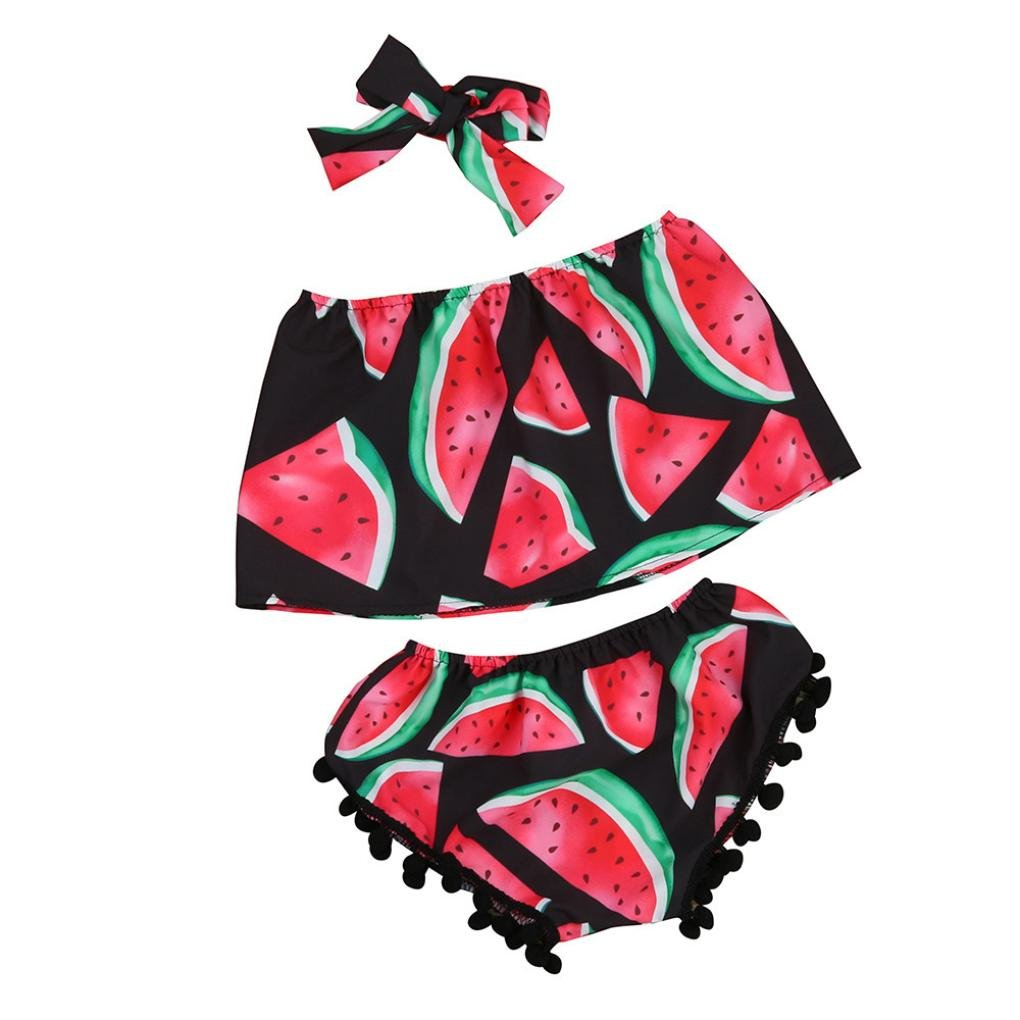 Sumen Toddler Baby Girl Watermelon Kid Tops Shorts Pant Outfits Sunsuit Clothes bessky
