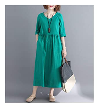Yellow Cotton Linen Vintage Solid V-Neck Women Casual Loose Maxi Long Summer Dress Vestidos