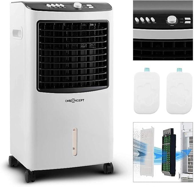 oneConcept MCH-2 V2 - Ventilador 3-en-1 portátil, Enfriador de aire, Humidificador, Tanque 7 L, 360 m³/h, 65 W, 2 baterías de refrigeración intercambiables, Oscilación horizontal, Temporizador, Floral: Amazon.es: Grandes electrodomésticos