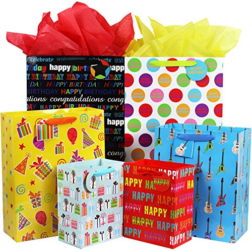 Assorted Gift Bags - Fzopo Birthday Gift Bag Assortment with Ribbon Handle, 12 Pcs Premium Quality Assorted Sizes Paper Bags Set, XL 13x17x6.5, Large 12x15x4.8, Medium 7x9x4.2 inches (6 Designs)