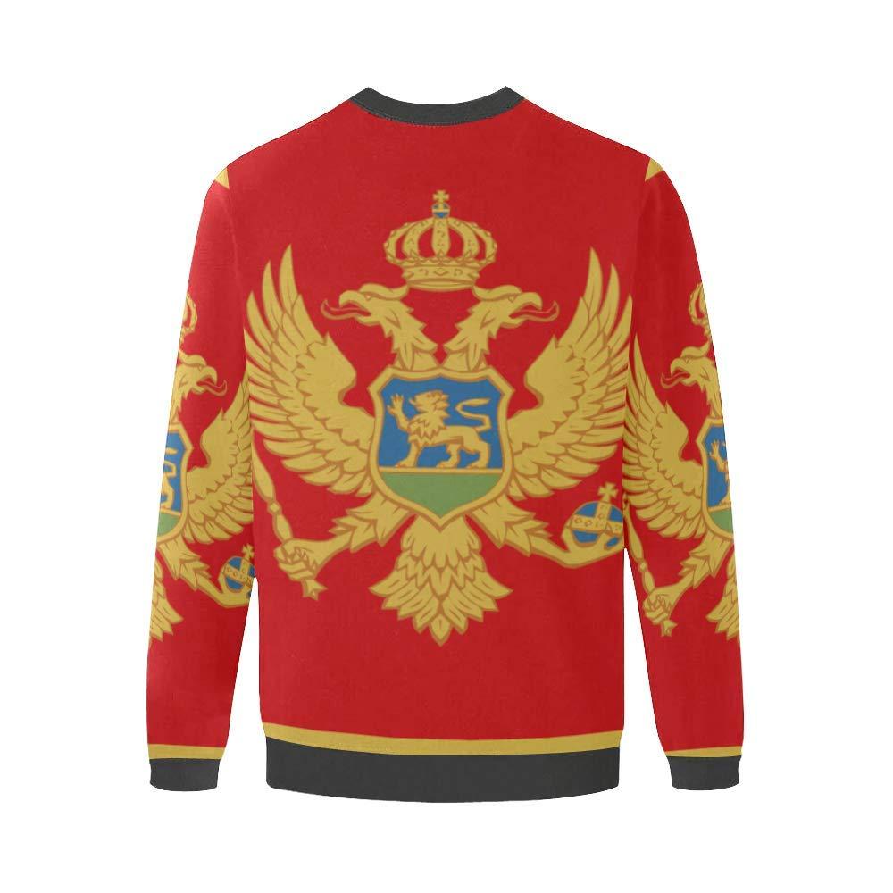 Montenegro Flag Mens Fuzzy Pullover Sweatshirt