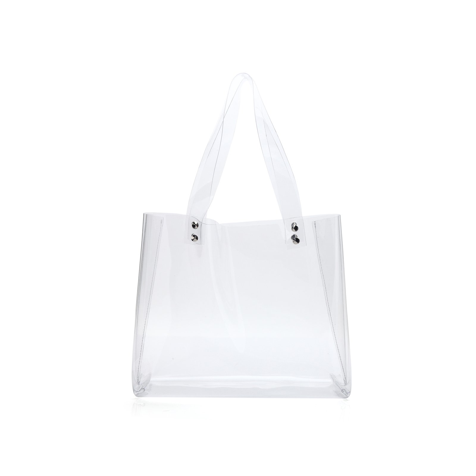 Lam Gallery NFL Stadium Approved Clear Tote Bag Womens Clear Purse Handbags for Work PVC Transparent Bags(Horizontal Style)