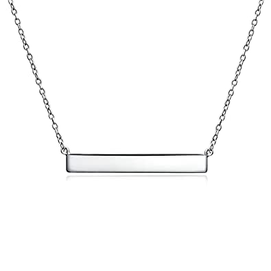 f097994a45f37 Thin Sideways Flat Bar Name Plate Style Necklace Women Gold Plated Silver,  Rose Gold Plated Silver Or Sterling Silver