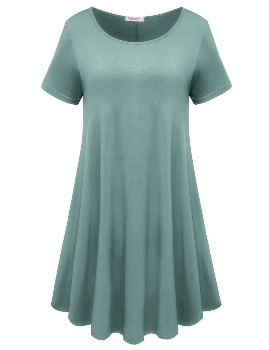 3e0ad2362fb BELAROI Womens Comfy Swing Tunic Short Sleeve Solid T-Shirt Dress ...