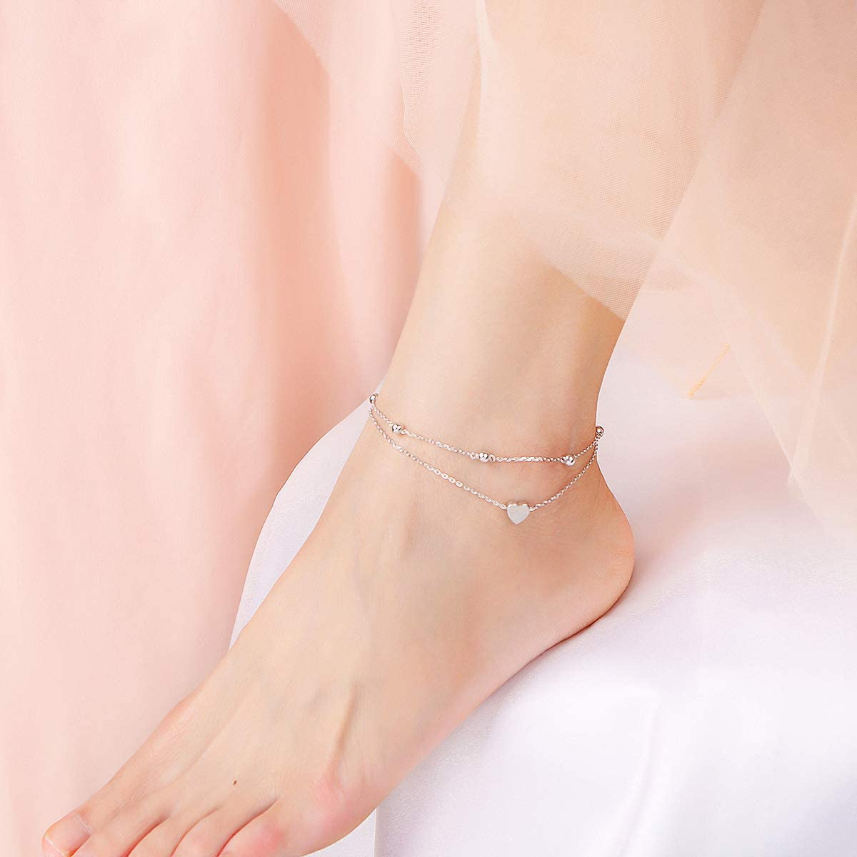 Heart Initial Ankle Bracelets for Women Real S925 Sterling Silver Adjustable Letter Initial Heart Charm Anklets Beach Jewelry