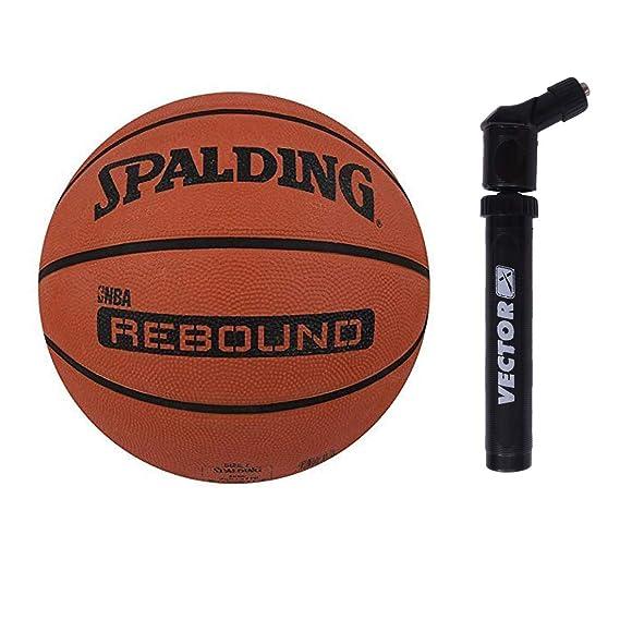 Spalding Rebound Rubber Basketball with Air Pump