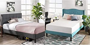 Zinus Lottie Upholstered Platform Grey Bed Frame | Model | Full & 12 Inch Green Tea Memory Foam Mattress/CertiPUR-US Certified/Bed-in-a-Box/Pressure Relieving, Full