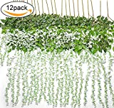 TRvancat Artificial Fake Wisteria Vine Hanging 12 Pack 3.6FT/pcs, Silk Flowers Chain Garland for Outdoor Wedding Ceremony Arch Party Home Garden Decor (White)
