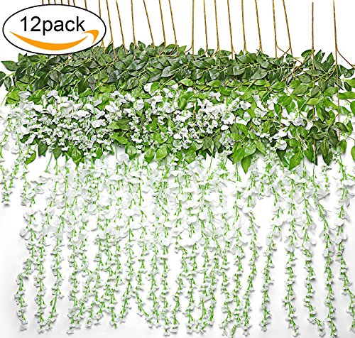 TRvancat Artificial Fake Wisteria Vine Hanging 12 Pack 3.6FT/pcs, Silk Flowers Chain Garland for Outdoor Wedding Ceremony Arch Party Home Garden Decor (White) by TRvancat