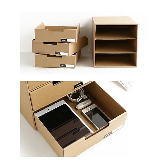 Cajón cartón Baffect con 3 capas de papel Kraft DIY ...