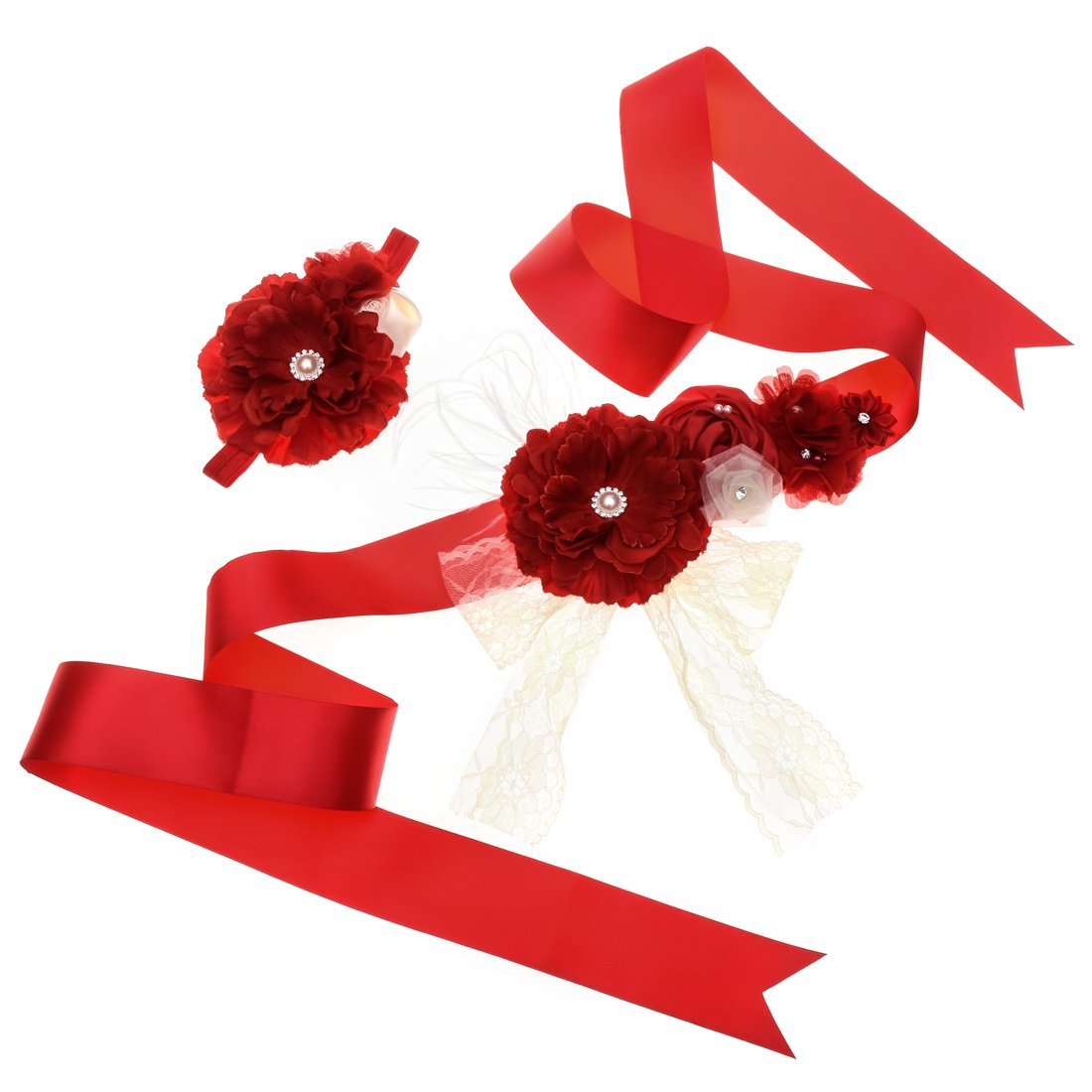 Love Sweety Meternity Flower Sash Bridal Feather Belt with Headband (Red)