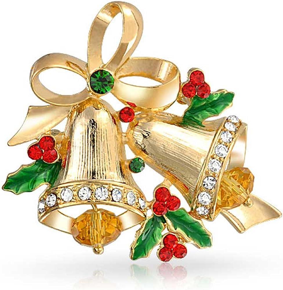 BoHoHo Free CS/&V Zipper Pull Merry Christmas Festive Sparkly Boho Red Green Crystal Bronze Jingle Dangle Xmas Earrings with Tiny Bells