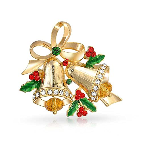 Christmas Bell Images.Bling Jewelry Large Holiday Decorated Christmas Bells Holly Brooch Pin For Women Red Green Crystal Gold Plated Alloy