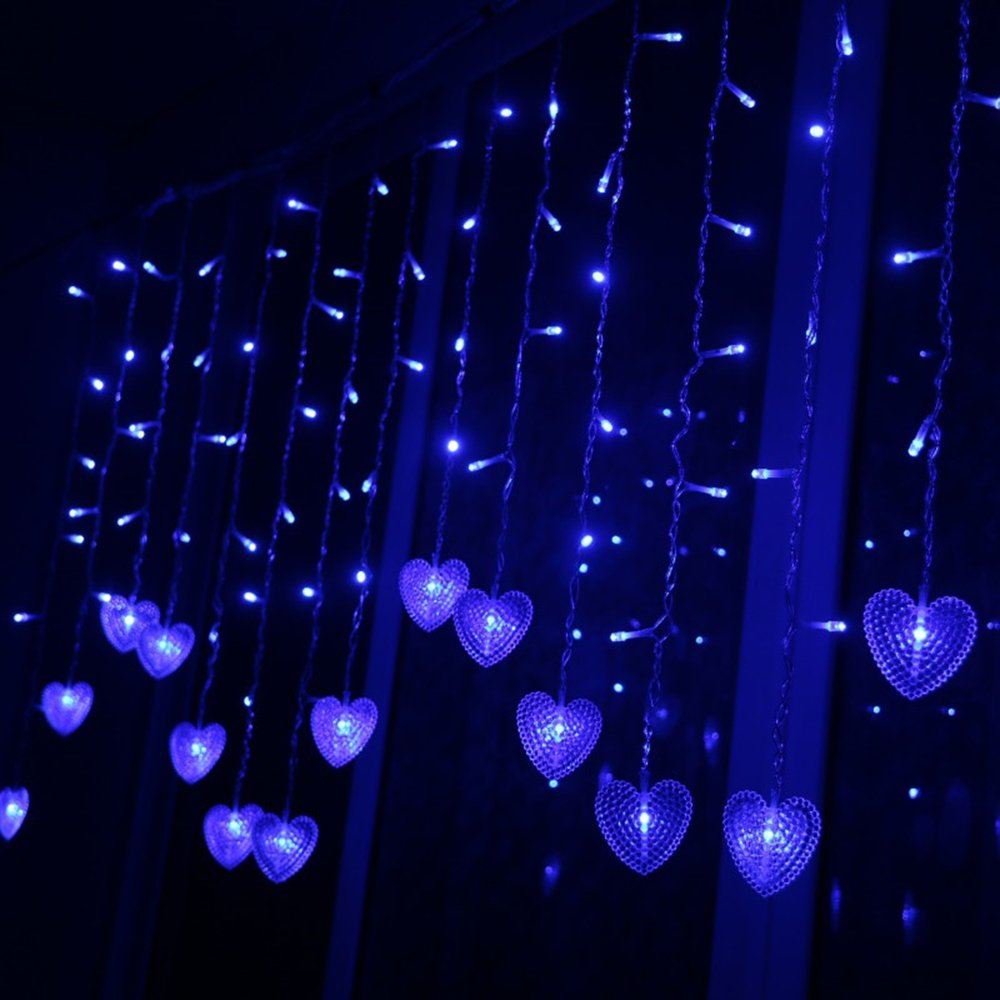 Multi-color 4M 96 LEDS 18P Hearts Love Shape LED String Curtain Light For Christmas Wedding Party Decoration Chandelier Luminarias (Blue)