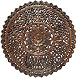 Cheap Set of 3 Large Round Wood Carving Floral Wall Decor Panel. Rustic Home Decor. Asian Wood Wall Hanging. 36″ (Dark Brown)