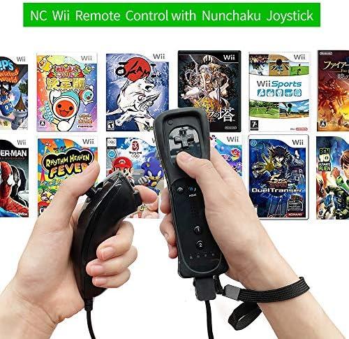 Mando a distancia NC Wii con Nunchaku Joystick, utilizado para Nintendo Wii y Wii U Consola, Gamepad con funda de silicona y correa de muñeca (1 juego), color negro 9