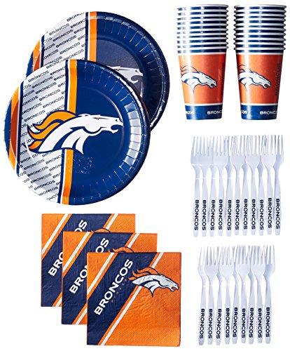NFL Denver Broncos Party Packs with Forks/Plates/Cups/Napkins (Serves 20)