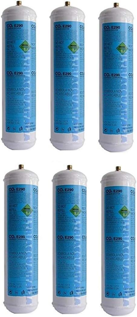 6 bombonas de Gas CO2 de 600 gr E290, carbonatador desechable con gas y Válvula, 11 x 1 CDR 03182003