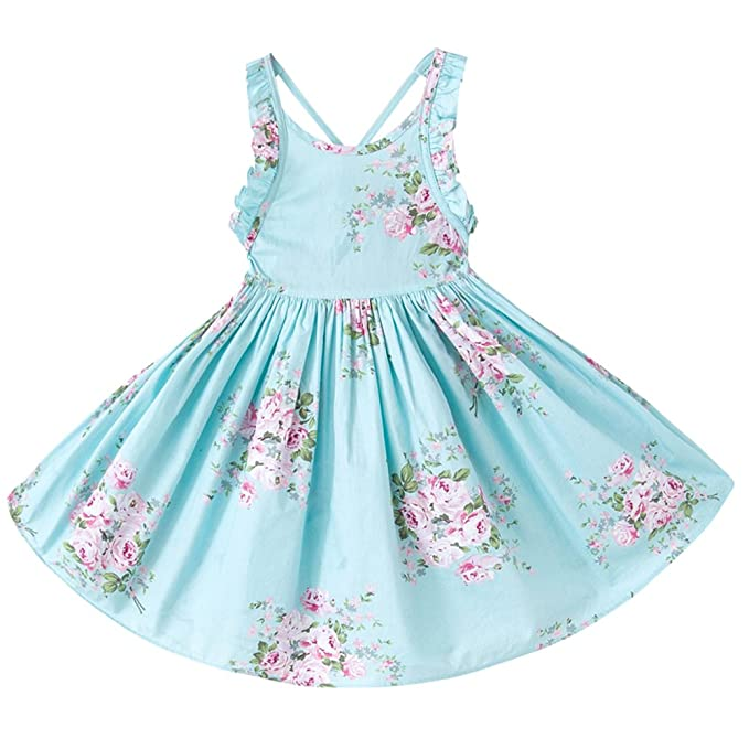 Amazon Com Qijovo Baby Girl Vintage Floral Dress Birthday Party