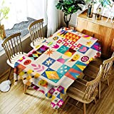 AGONIU Outdoor Tablecloth Rectangular,Retro Style Fun Pattern with Notebook Paper Background,High-end Durable Creative Home,W52x70L