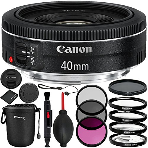 Canon EF 40mm f/2.8 STM Lens - 8PC Accessory Bundle Includes 3 Piece Filter Kit (UV, CPL, FLD) + 4 Piece Macro Filter Set + Variable Neutral Density Filter (ND2-ND400) + Small Lens Pouch + MORE by Canon
