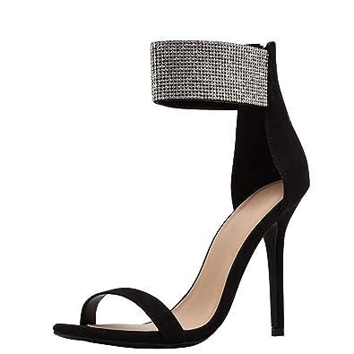 c54f613c34 Wild Diva Womens Open Toe Stiletto Jeweled Rhinestone Ankle Strap High Heel  Pump Sandals