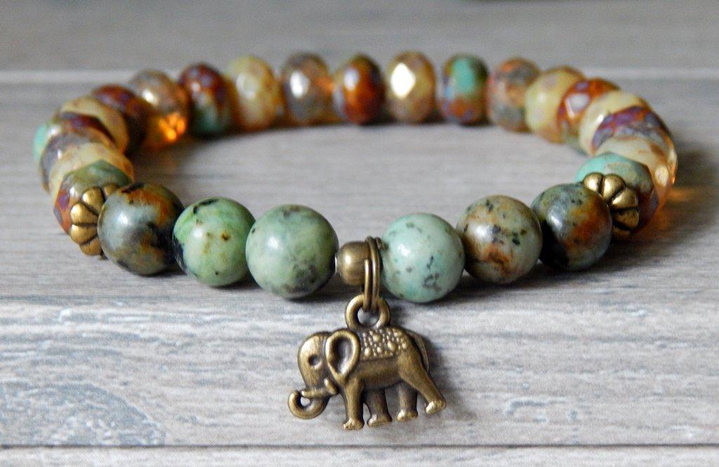 Ganesh Hindu Bracelet Elephant Success Charm African Turquoise Beige and Green