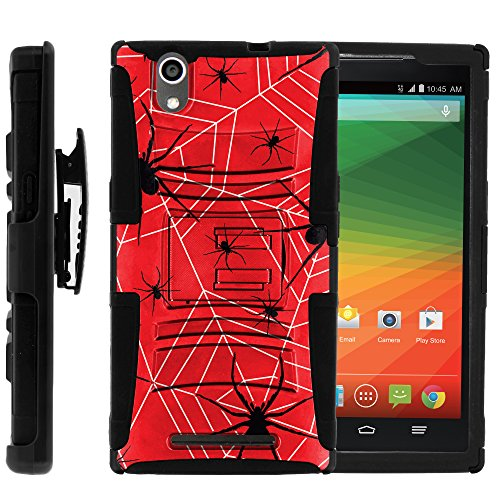ZTE ZMax Case, ZTE ZMax Holster, Two Layer Hybrid Armor Hard Cover with Built in Kickstand and Belt Clip for ZTE ZMax Z970 (T Mobile, MetroPCS) from MINITURTLE | Includes Screen Protector - Spiders and (Combat Web Pack)