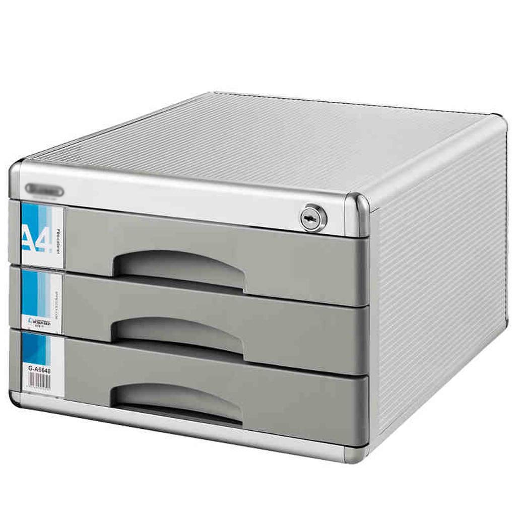 File cabinets LITING A4 Data Cabinet Three-Tier Storage Box Drawer Type with Lock Aluminum Alloy