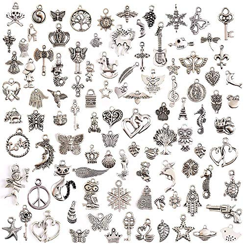 Goldenlight 200Pcs Mixed Tibetan Silver Charms Pendants DIY for Jewelry Making and -