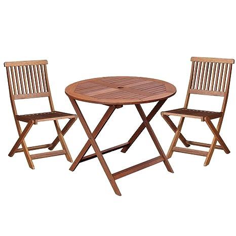 Conjunto de Mesa y sillas para terraza marrón de Madera Garden ...