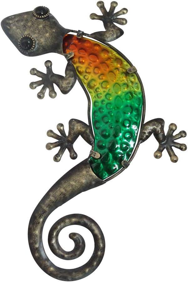 """Comfy Hour 11"""" Metal Art Gecko Wall Décor, Brown & Green"""