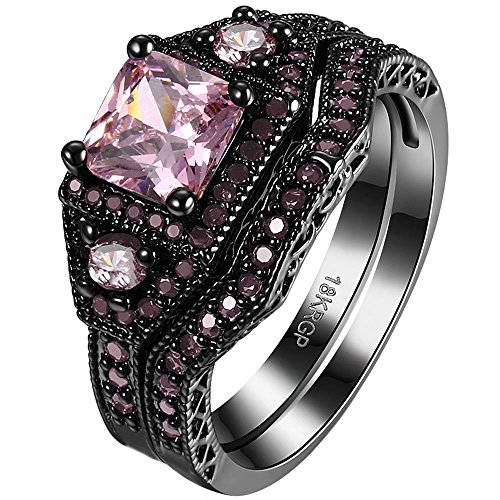 AWLY Jewelry Women 2 Pcs Black Gold Square Pink Crystal Ring Set Round CZ Wedding Band for Girlfriend Size 7
