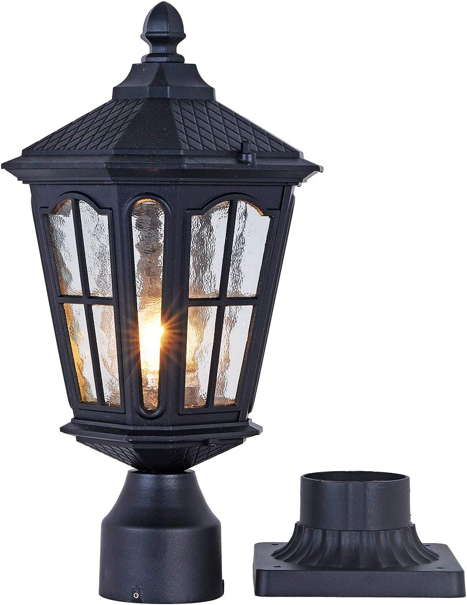 GYDZ Post Light Outdoor with 3-Inch Pier Mount Base, 17 H Exterior Post Light Fixture,Waterproof IP65 Classic Die Cast Aluminum with Water Ripple Glass, E26 Base 60W Max,Matte Black