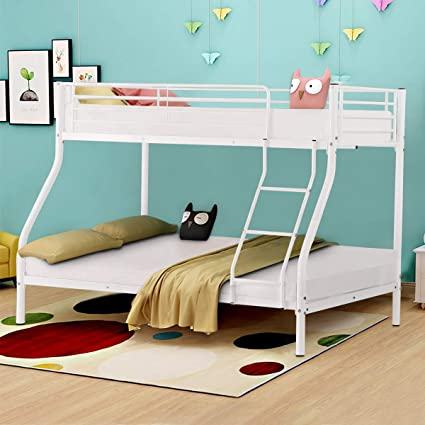 Amazoncom Costzon Twin Over Full Metal Bed Twin Cot With Ladder