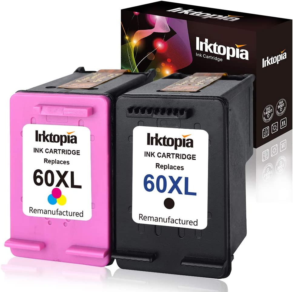 Inktopia Remanufactured Ink Cartridges Replacement for HP 60XL 60 XL CB336WN CB338WN High Yield (1 Black, 1 Tri-Color) for HP Photosmart C4680 D110 Deskjet D2680 F2430 F4210 Printer