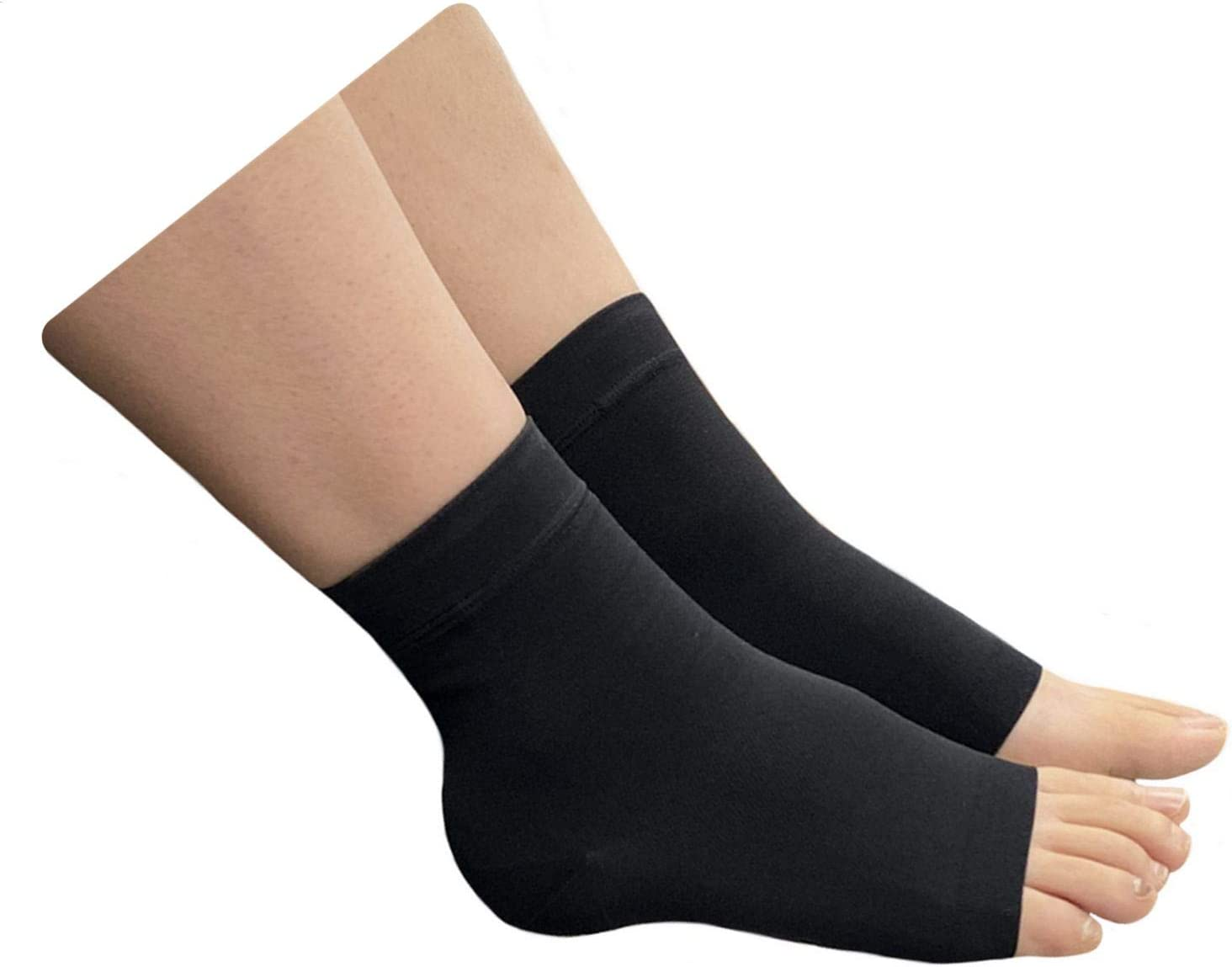 HealthyNees Extra Wide Ankle Big Feet 20-30 mmHg Compression Swelling Foot Pain Circulation Plus Size Sock Open Toe Sleeve (Black, Wide Ankle 4XL)