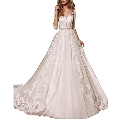 6e57e8f7b79e TC Bride Ball Gown Full Lace Wedding Dresses with 3/4 Sleeves 2018 Illusion  Back Wedding Bridal Gowns with Crystal Sash at Amazon Women's Clothing store :