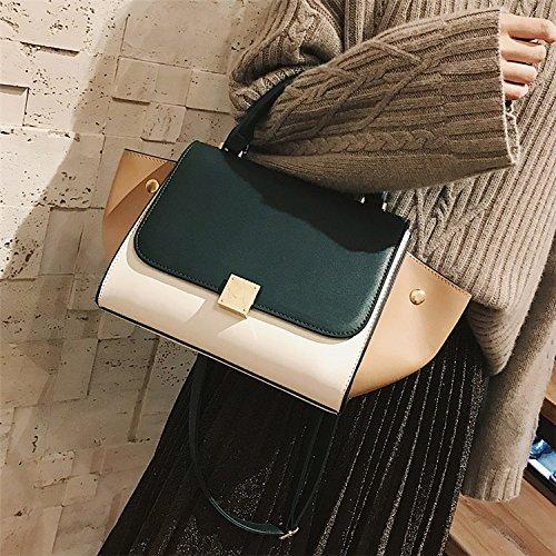 Bag Vert Dames main Trapèze Crossbody Tote foncé Shoulder de Sacs Bag Designer Swing AASSDDFF qualité Femmes Tricolore Patchwork haute à PU HqwSUX