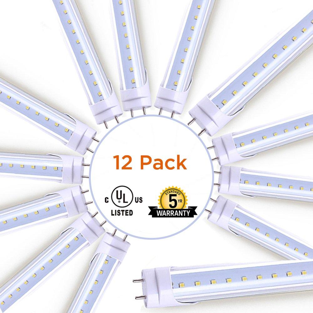 LikeLight SmartSaver Pack (12 Pack), T8 LED Light Tube, 4FT, 20W (40W Equivalent), 5000K Daylight White, 2400 Lumens, Dual Ended Power, UL-Listed, Clear Cover, Maximum Energy Saving