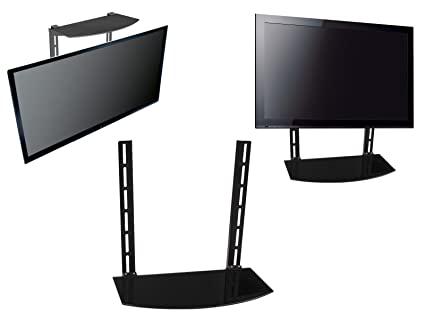 Amazon Com Simply Silver Tv Wall Mount Glass Shelf Above Below